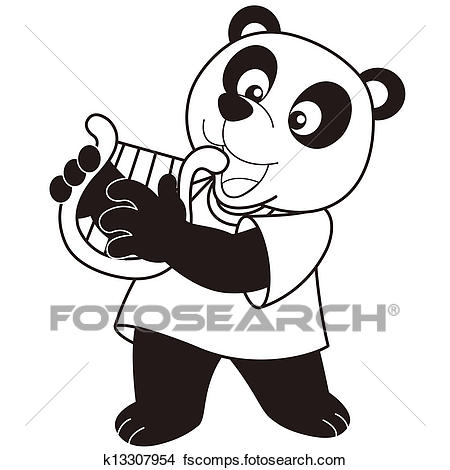 450x470 Clipart of Cartoon Panda Playing a Harp k13307954