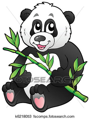 356x470 Clipart Of Cartoon Panda Eating Bamboo K6218053
