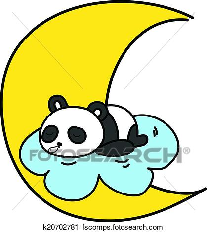419x470 Clipart of baby panda sleeping on the cloud with the moon vector
