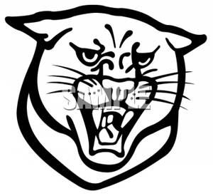 300x275 And White Panther Mascot Growling