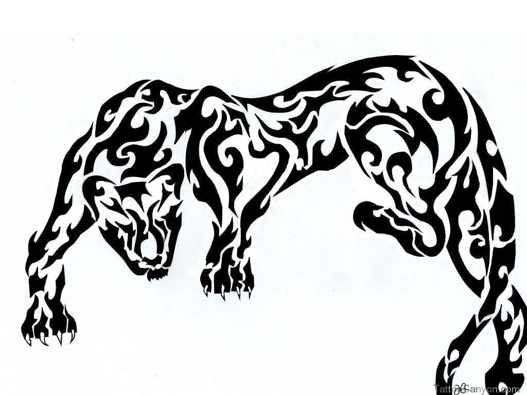 1024x768 Black Panther Tribal Tattoo Designs