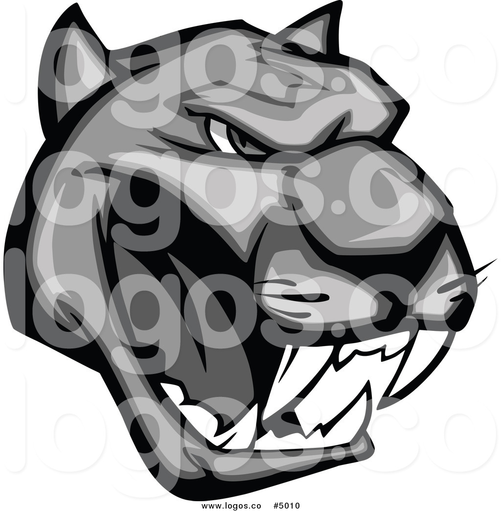 1024x1044 Royalty Free Vector Of A Grayscale Growling Panther Logo By Vector