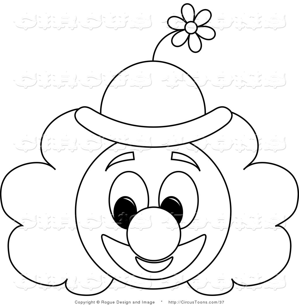 1024x1044 Circus Vector Clipart Of A Clown Face Outline By Pams Clipart