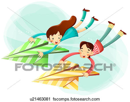 450x354 Clipart Of Boy And Girl Flying With Paper Airplane U21463081