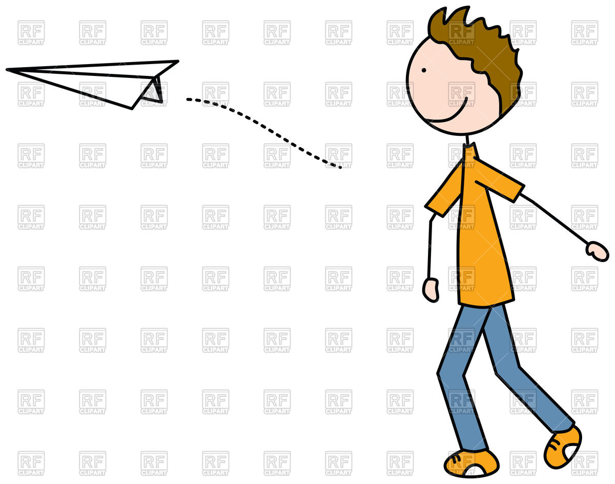 1200x944 Cartoon Illustration Of A Boy Throwing Paper Plane Royalty Free