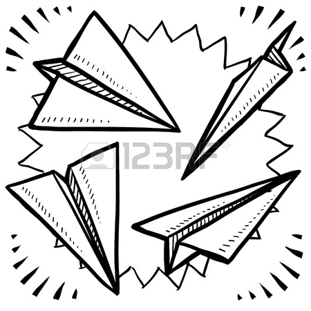 450x450 Doodle Style Paper Airplane Variety Stock Photo, Picture