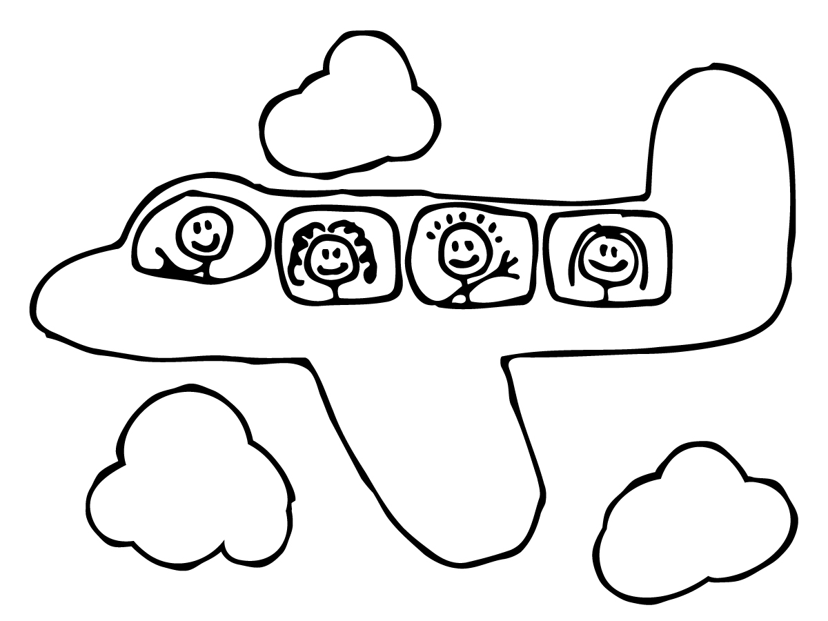 1200x900 Drawn Airplane Black And White