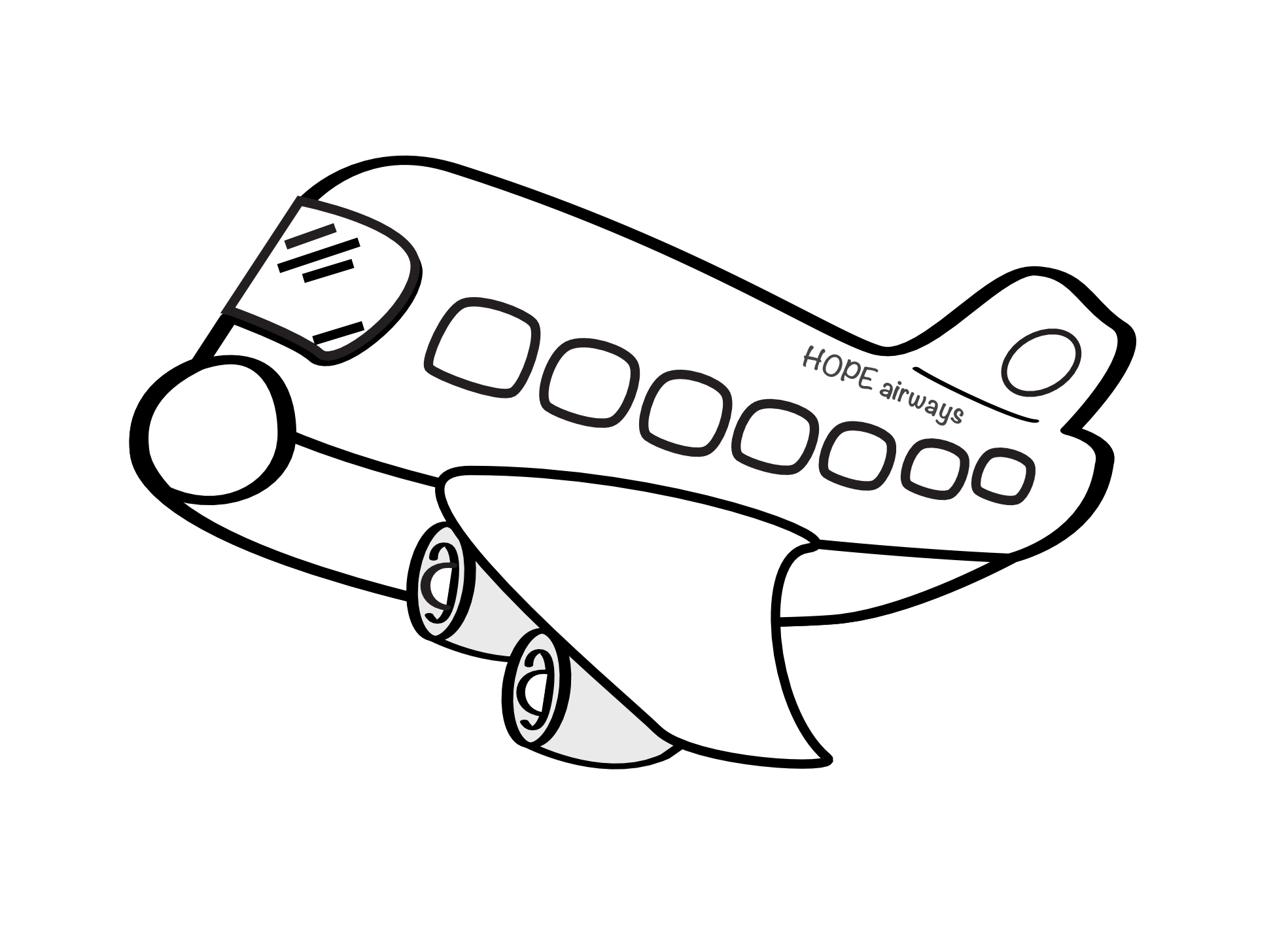 1969x1432 Airplane Clipart Drawn