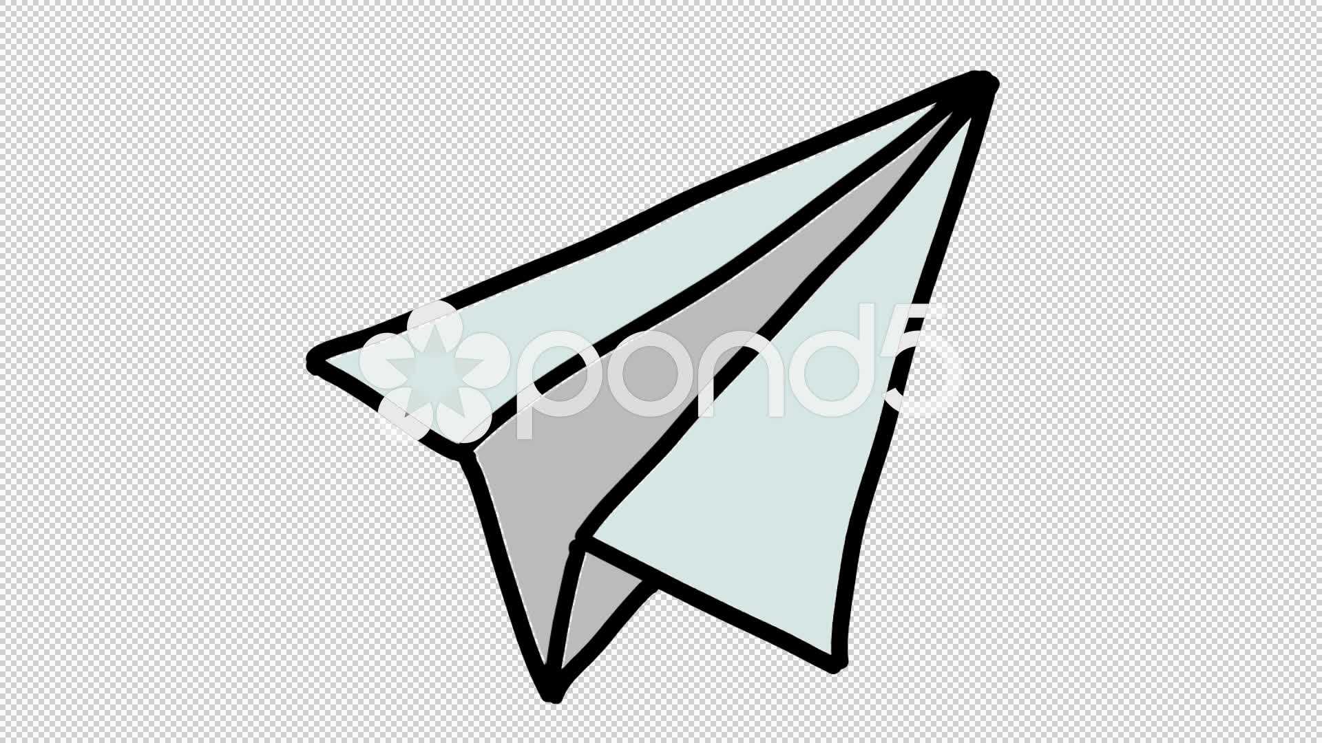 1920x1080 Paper Plane Hand Drawn Color Icon Animation With Transparent