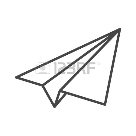 450x450 Black Linear Paper Plane Icon On A Grey Background Royalty Free