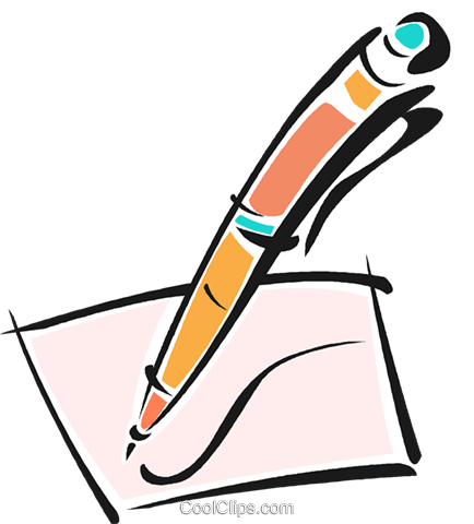 434x480 Pen Writing On A Piece Of Paper Royalty Free Vector Clip Art