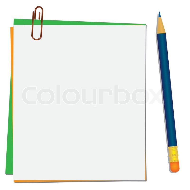 800x800 Pencil And Paper For Notes On The Clip Vector Illustration Stock