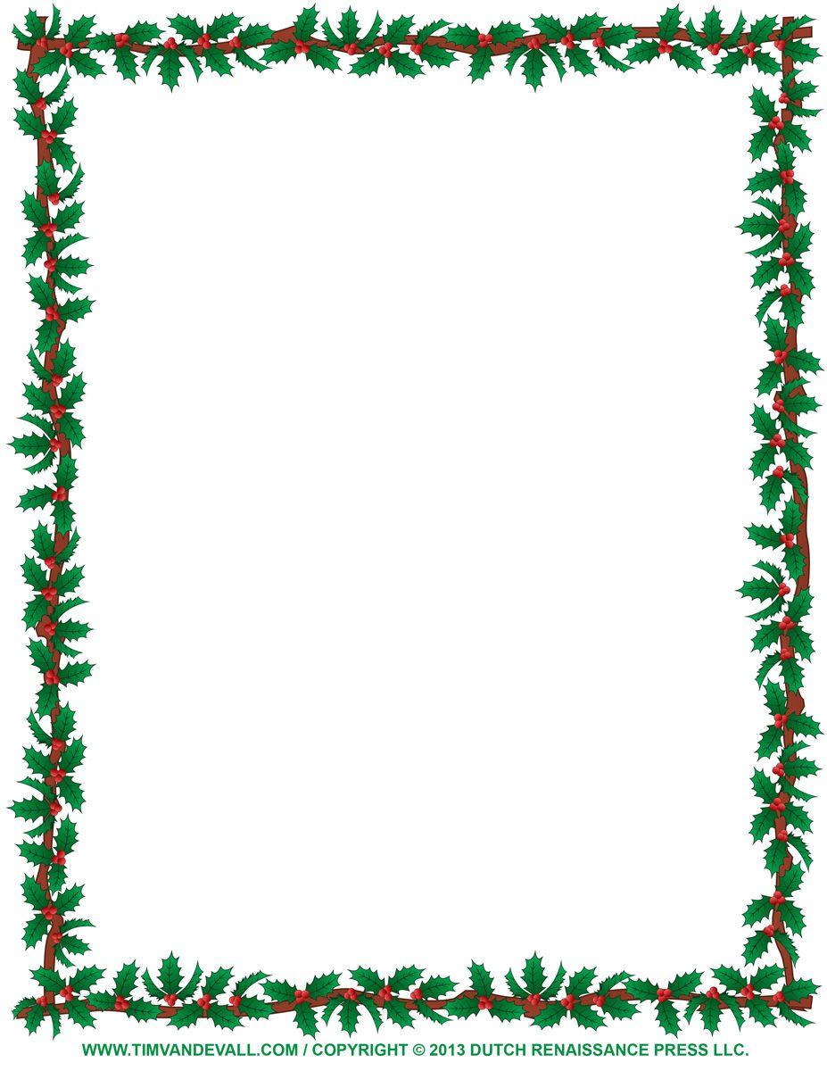 927x1200 Free Christmas Borders To Print Christmas Clipart Borders Holly