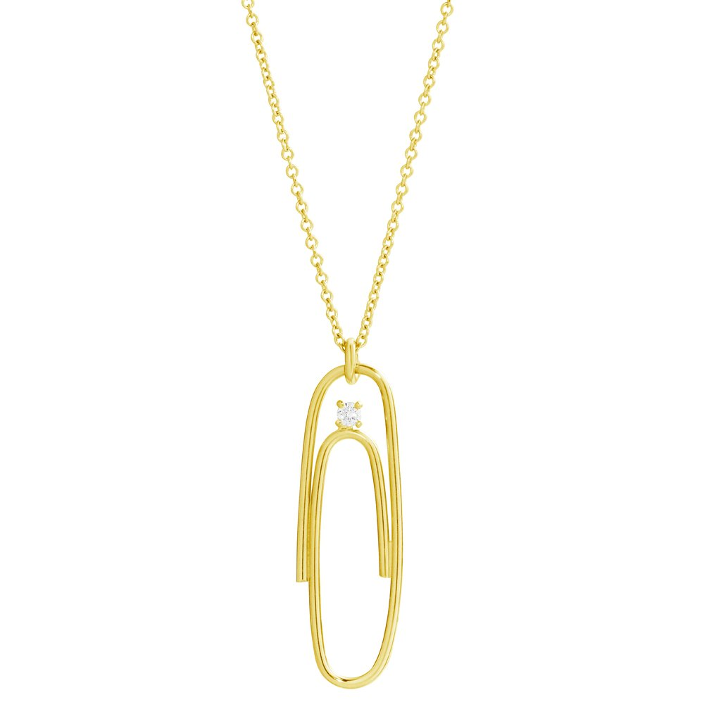 1024x1024 14k Yellow Gold Paper Clip Necklace Lauren Klassen