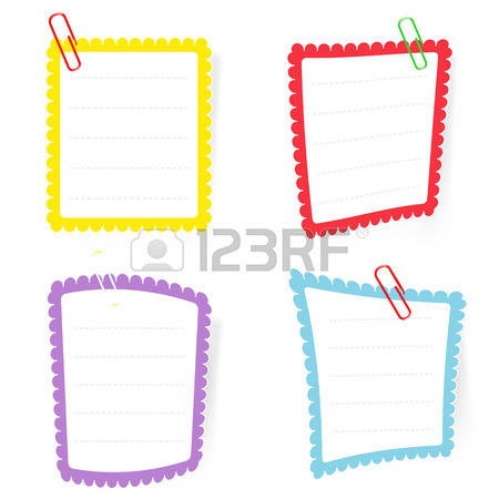 450x450 Vector White Note Paper With Paperclip Royalty Free Cliparts