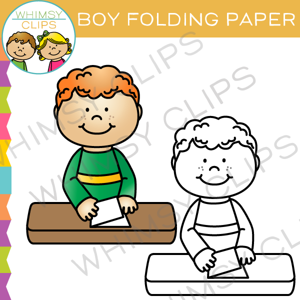600x600 Boy Folding Paper Clip Art , Images Amp Illustrations Whimsy Clips