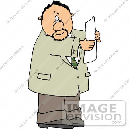450x450 Caucasian Man Reading A Paper Clipart