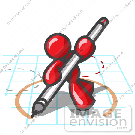 450x450 Clip Art Graphic Of A Red Guy Character Drawing A Circle On Graph