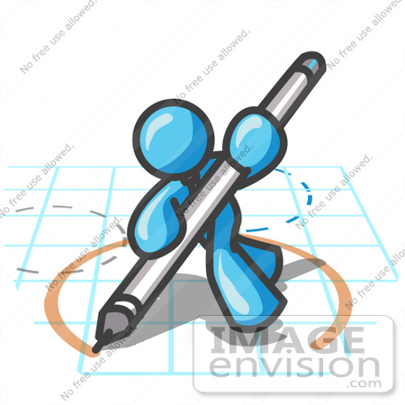 450x450 Clip Art Graphic Of A Sky Blue Guy Character Drawing A Circle