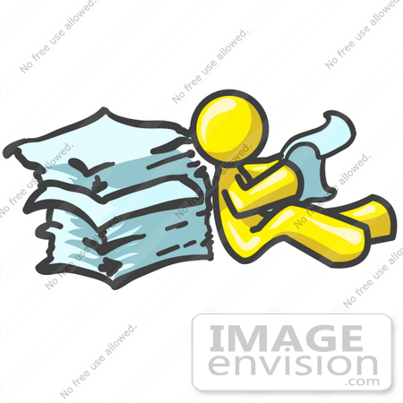 450x450 Clip Art Graphic A Yellow Guy Character Reading A Stack