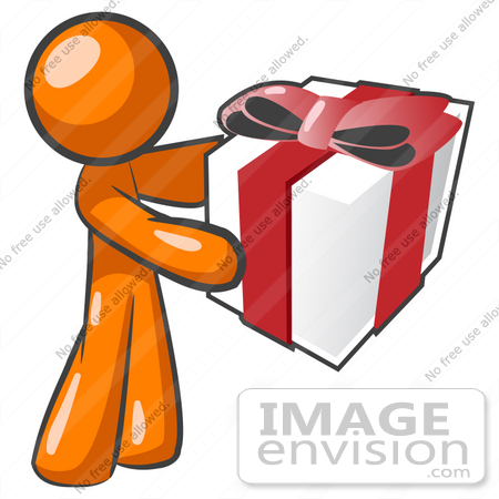 450x450 Clip Art Graphic Of An Orange Guy Character Holding A Gift Wrapped