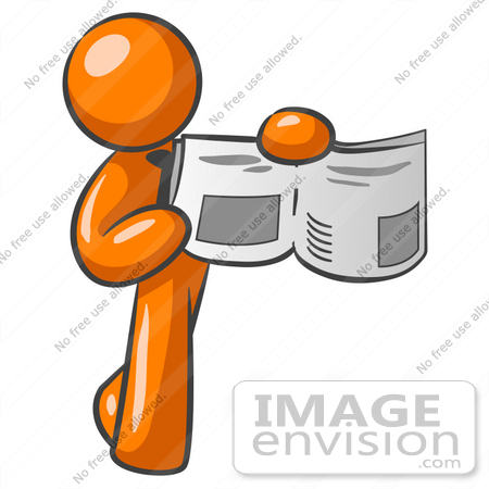 450x450 Clip Art Graphic Of An Orange Guy Character Holding And Pointing