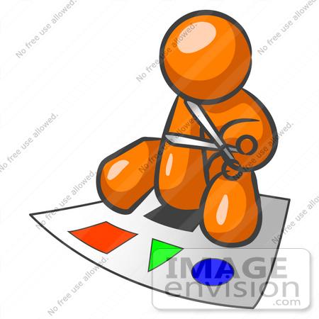450x450 Clip Art Graphic Of An Orange Guy Character Sitting And Cutting