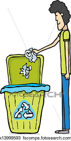 239x470 Clipart Of Guy Recycling Paper K13999593