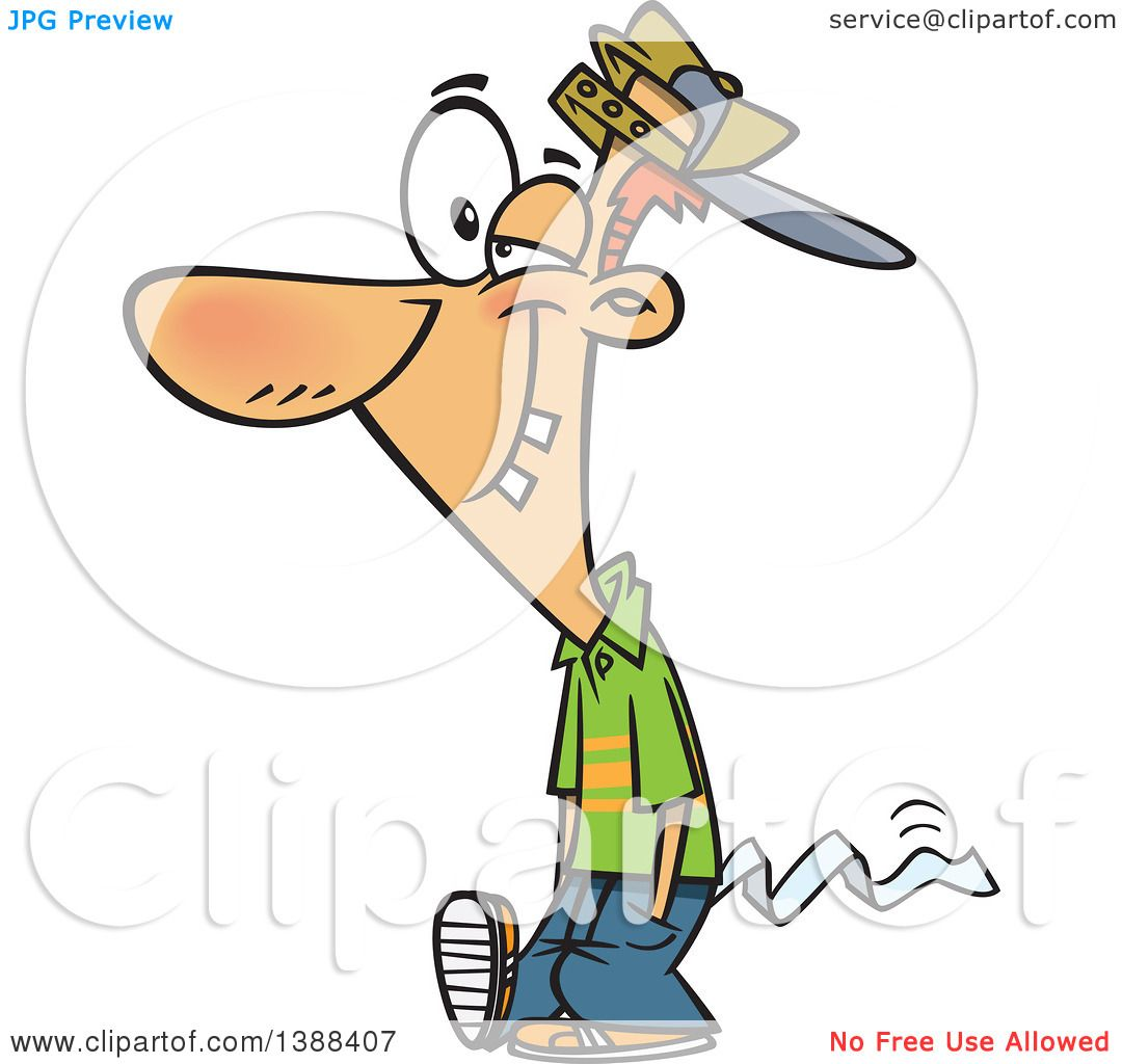 1080x1024 Clipart Of A Cartoon April Foolish Guy Walking With Toilet Paper