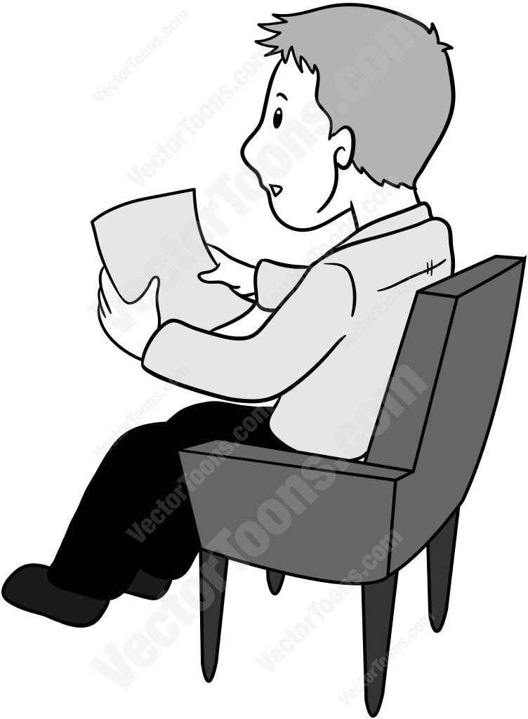 752x1024 Side View Of A Man Sitting In A Chair Holding A Piece Of Paper