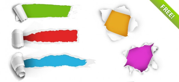 626x288 5 Ripped Paper Holes Psd File Free Download