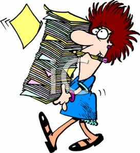 273x300 Clipart Of A Businesswoman Carrying Large Stack Of Paperwork