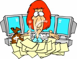 300x232 Clipart Of A Businesswoman With Lots Of Paperwork And Computers