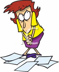 247x300 Clipart Of A Cowering Business Assistant With Dropped Paperwork