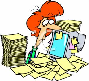 300x273 Clipart Of A Overworked Businesswoman With Stacks Of Paperwork