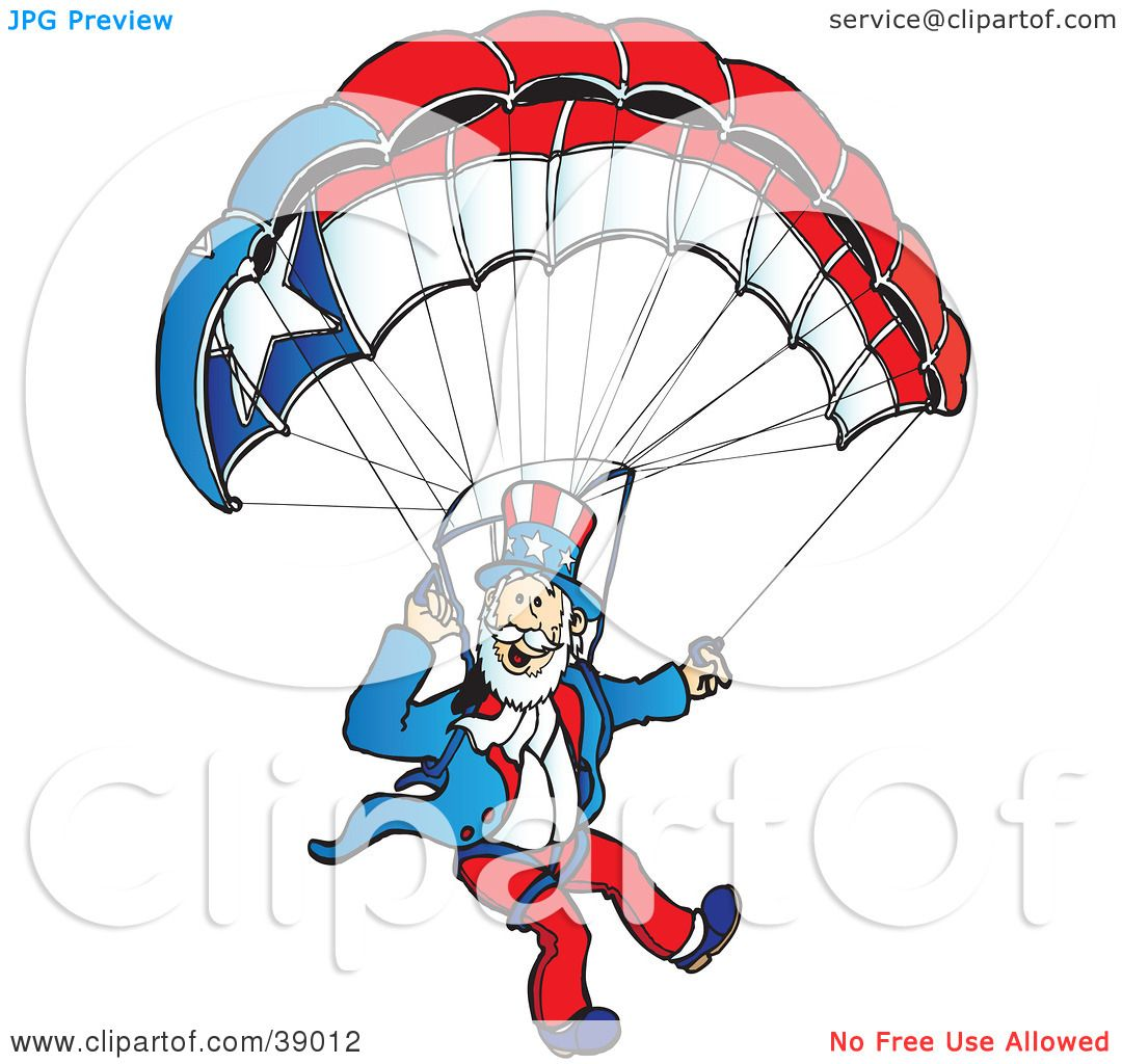 1080x1024 Clipart Illustration Of Uncle Sam Parachuting With A Patriotic