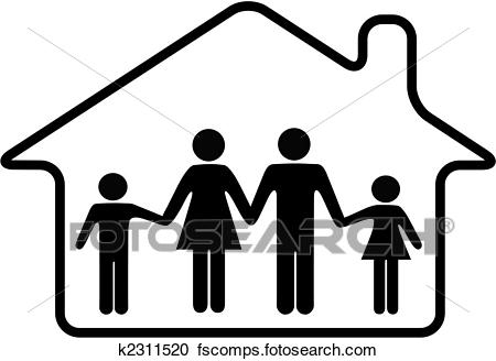 450x328 Clipart Of House Family Parents And Children Safe In Rounded Home