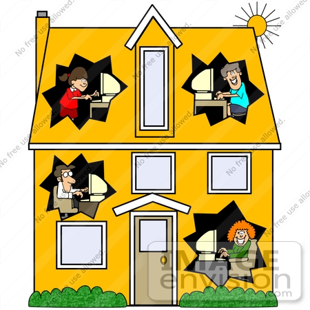 450x450 Clip Art Graphic Of Parents And Their Children In Different Rooms