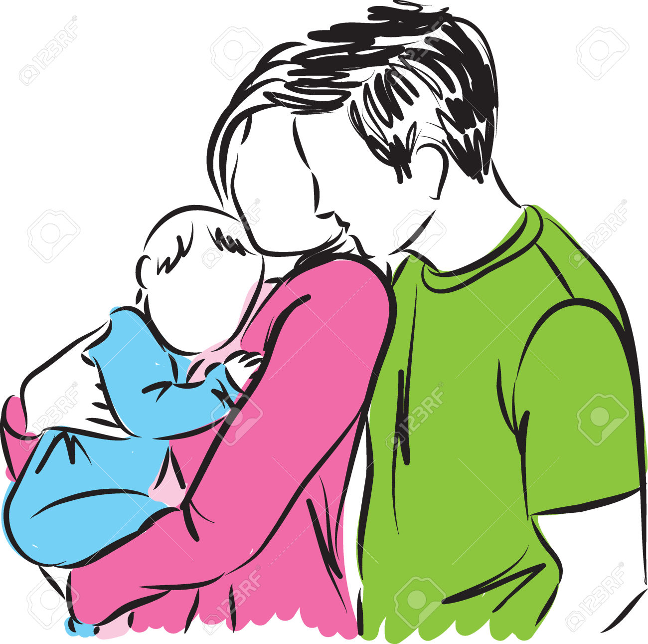 1300x1291 Parents With Baby Clipart