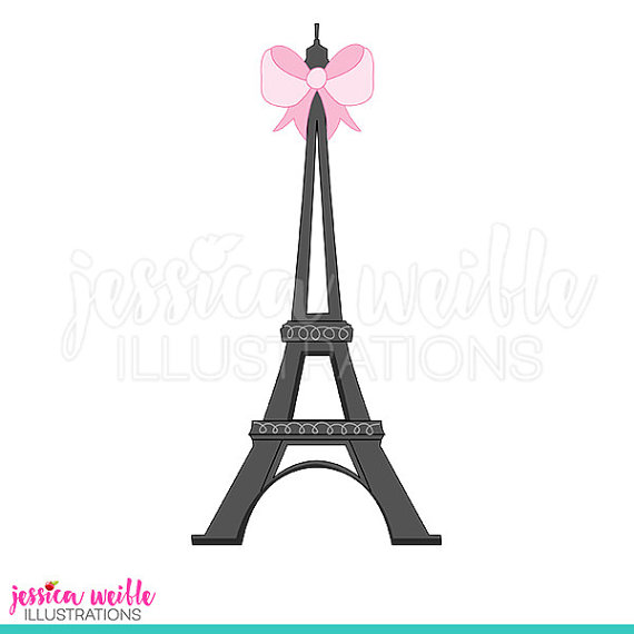 570x570 Eiffel Tower With Bow Cute Digital Clipart Eiffel Tower Clip