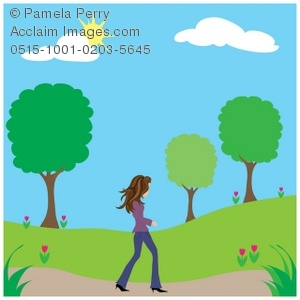 300x300 Clip Art Illustration Of A Young Woman Walking In A Park