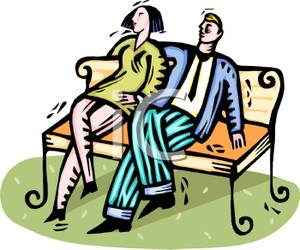 300x250 Colorful Cartoon Of A Couple Relaxing On A Park Bench
