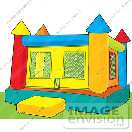 450x450 Clip Art Graphic Of A Bounce Castle On Grass In A Park