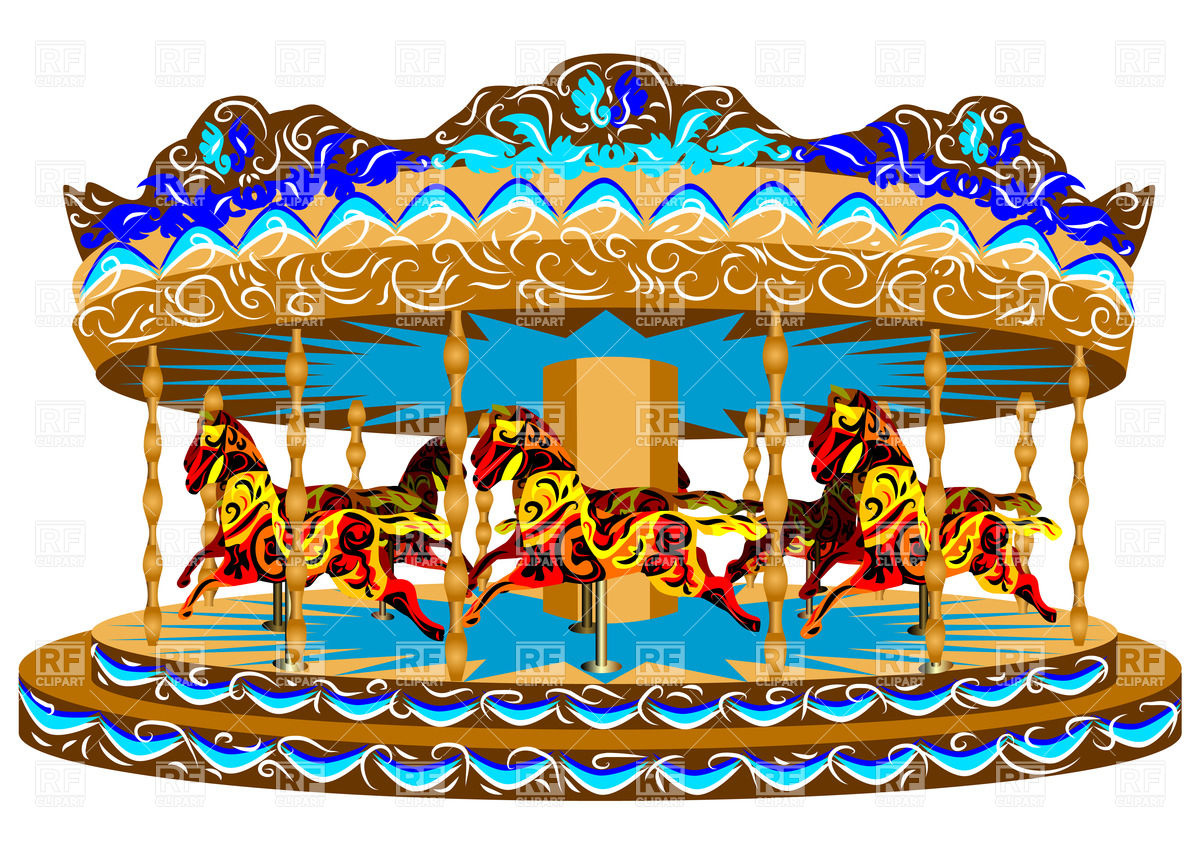 1200x849 Carousel With Horses Royalty Free Vector Clip Art Image