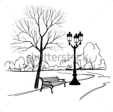 380x379 City Park Black And White Clipart