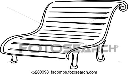 450x266 Clip Art Of Park Bench, Contours K5280098