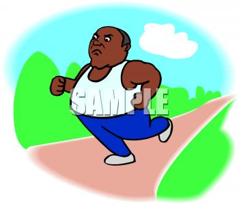 350x298 Overweight African American Man Running In The Park