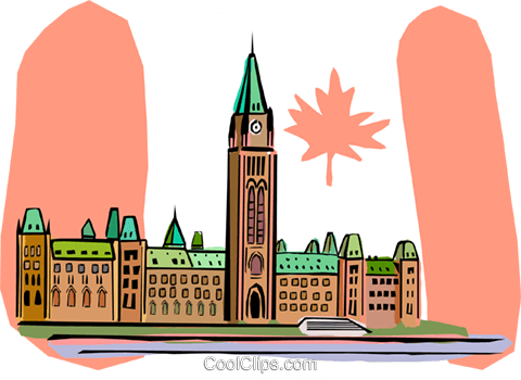 480x350 Ottawa, Canada, Parliament Buildings Royalty Free Vector Clip Art
