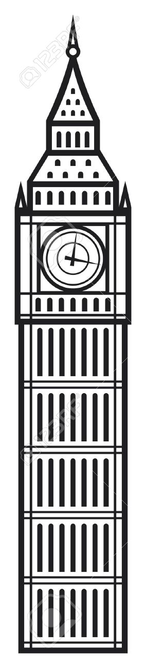 284x1300 Big Ben Clipart Black And White