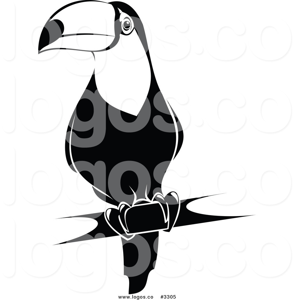 1024x1044 Royalty Free Vector Of A Black And White Toucan Logo By Vector